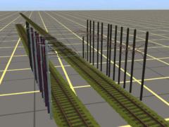 Sada starých tramvajových sloupů