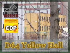 Žlutá průmyslová budova