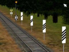 Vzdálenostní upozorňovadla s rovnými a šikmými pruhy